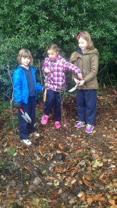 Isobel, Robyn and Hayleigh are finished their planting.